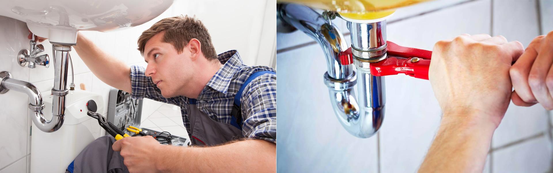Foto di un idraulico durante un intervento di manutenzione